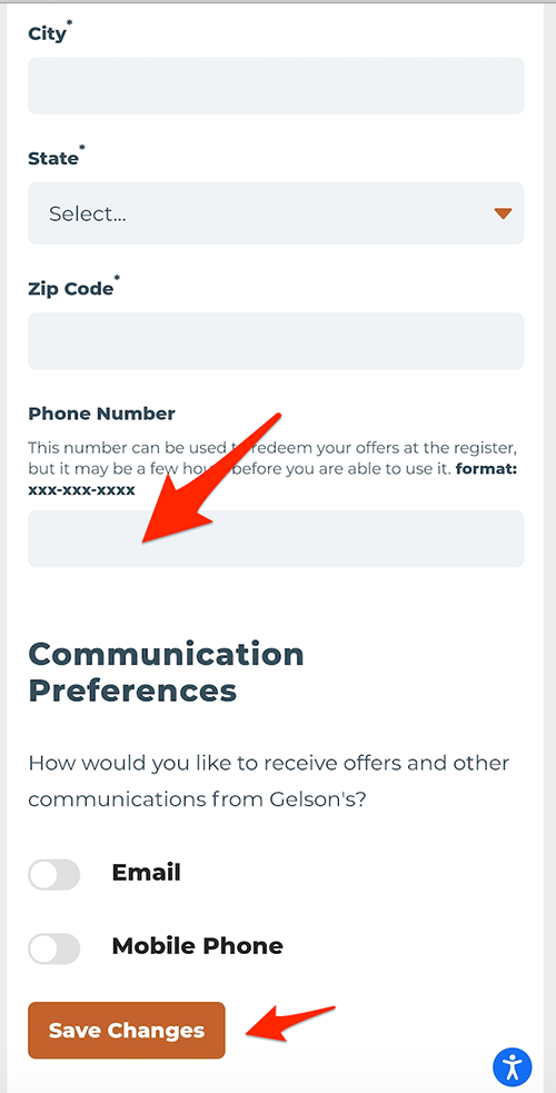 Update phone number and save changes