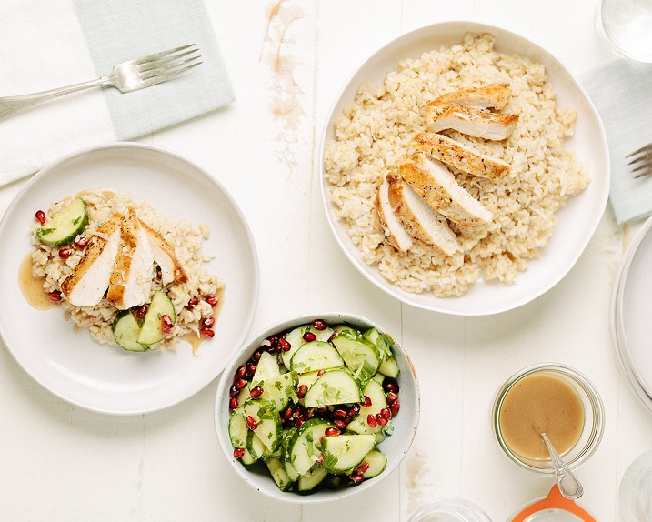 Roasted Chicken with Coconut Rice and Ginger Cucumbers